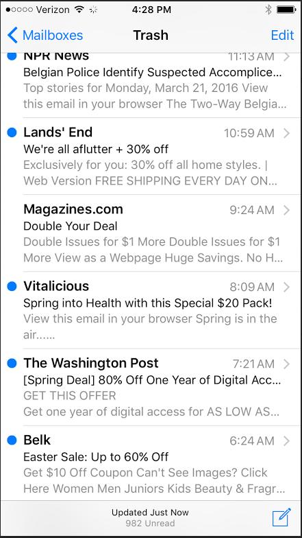 email inbox screenshot