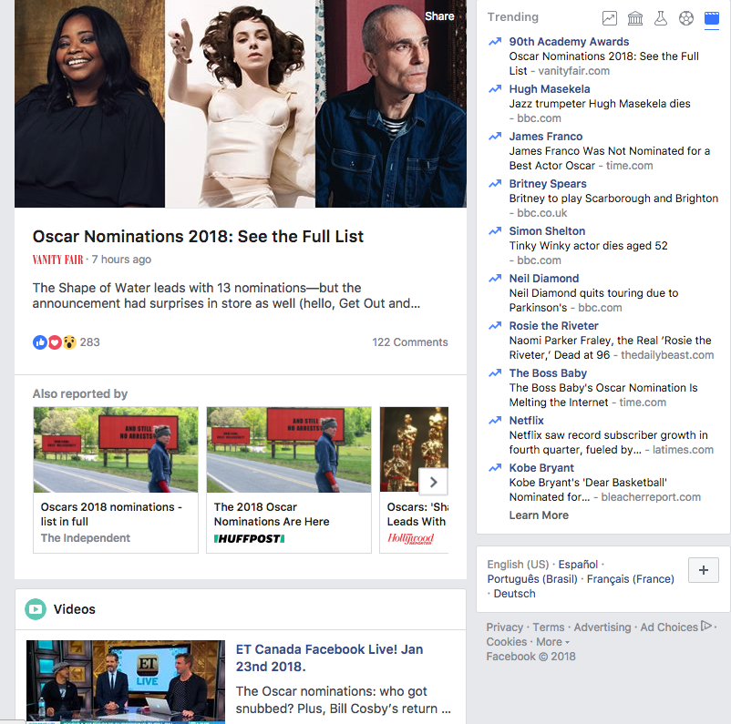 what's trending on Facebook and Twitter