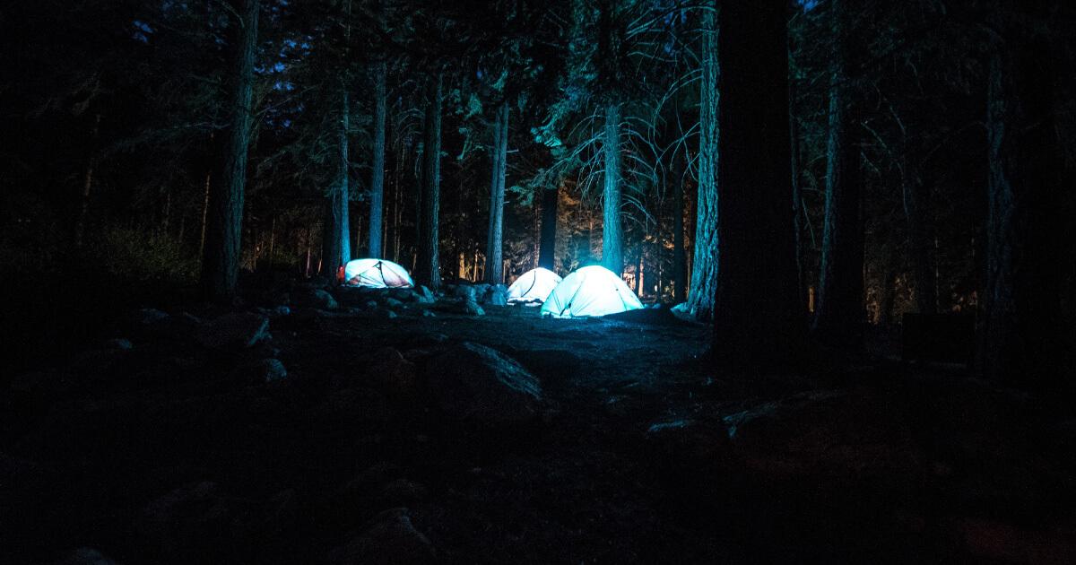 Camping tents at night